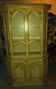 antique china display cabinet 4 doors carved motifs