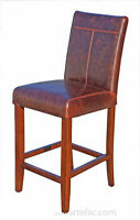 4 Leather Counter Stool in Dark Brown or Distress Brown on Sale