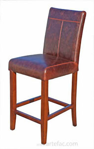3 Leather Kitchen Counter Height Stool in Dark Brown or Distress