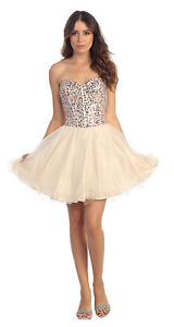 New short prom dress / formal gowns with beaded bodice