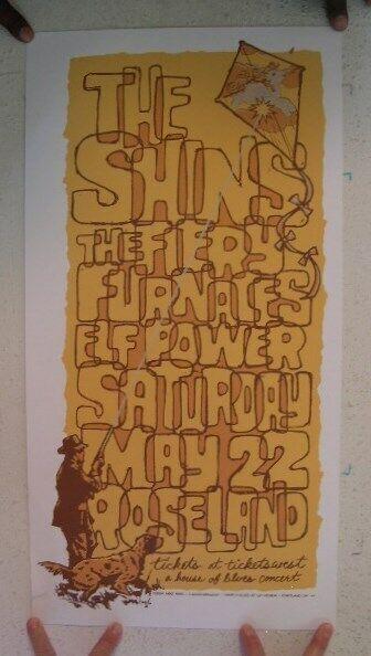 The Shins Fiery Furnaces Elf Power Silkscreen Poster May 22 Portland