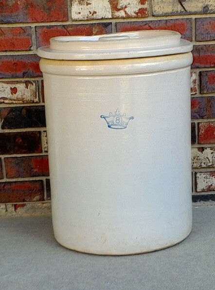 Antique-Robinson-Ransbottom-8-Gallon-Pottery-Crock & Lid USA-Crown-Rosevile