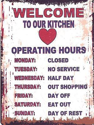 WELCOME TO OUR KITCHEN METAL SIGN RETRO VINTAGE STYLE SMALL