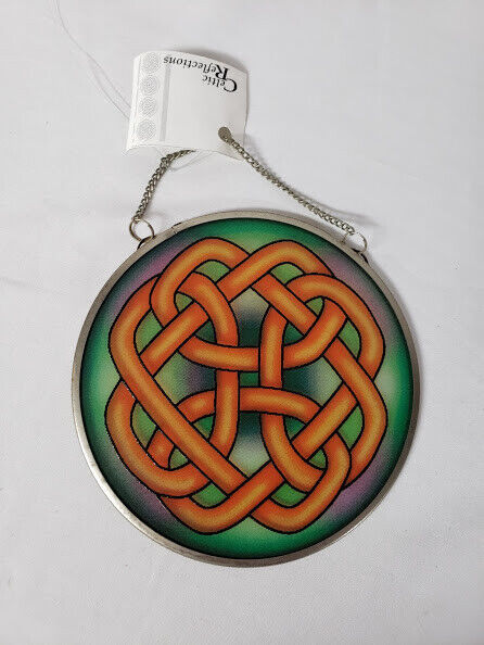 Celtic Reflections Eternal Knot Sun Catcher Irish Deco Edenborough Stained Glass - $39.99