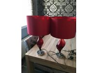 2 NEXT VERONA RED TABLE LAMPS