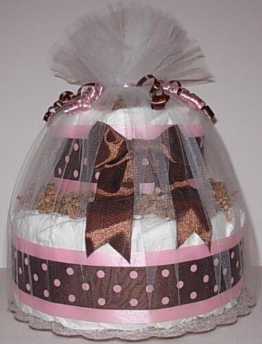 L@@K..Mod Girl 2 Tier  Diaper Cake - Girl Baby Shower