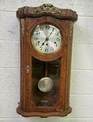 Antique Kienzle Westminster Chime Vienna Regulator Wall Clock Burl Walnut/Brass
