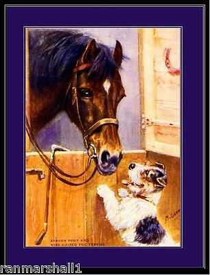 English Picture Print Wire Fox Terrier Dog Pony Horse