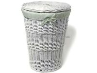john lewis white whicker laundry basket with linen lining and lid