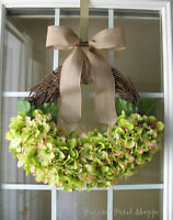 Green Hydrangea Wreath/Spring Wreath/Summer/Rustic Wreath