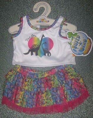 Build-A-Bear DINO LOVE RAINBOW TIERED SKIRT OUTFIT Apatosaurus