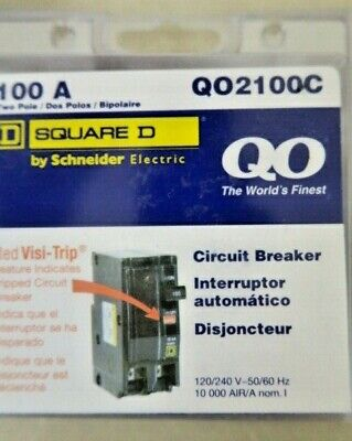 Square D 100 Amp Two Pole Circuit Breaker Qo2100c. New In Box. Free Shipping