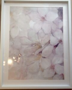 Soft floral pink brand new glass wall decor $45 retail$129.89