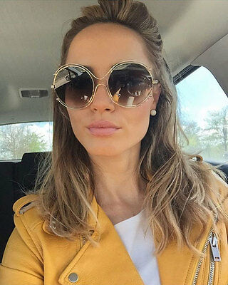 Isidora Round Sunglasses Gold Circle Aviator Men Women Style Mirror Lens (Gold Circle Lenses)
