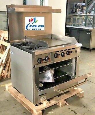 New 36 Oven Range Combo Griddle 2 Burner Stove Top Commercial Kitchen Nsf