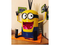 Despicable me minion steel gas bottle conversion with led changeable lights garden/indoor feature