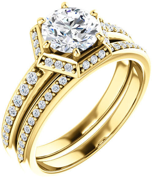GIA 1.01 carat Round Diamond Engagement Solitaire 14k Yellow Gold Ring I SI1