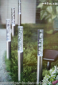 5 x solar gartenstecker s ulen deko lichter garten. Black Bedroom Furniture Sets. Home Design Ideas