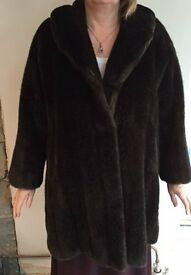 2/3 length Faux Fur Coat from Selfridges - size L (16-18) hardly worn, great condition £40 ono