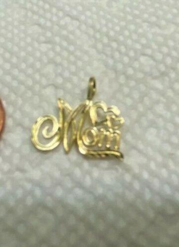 Vintage 14k Solid Gold pendant Love Mom.