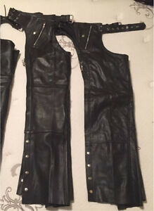 2 pairs leather chaps, uncut, like new