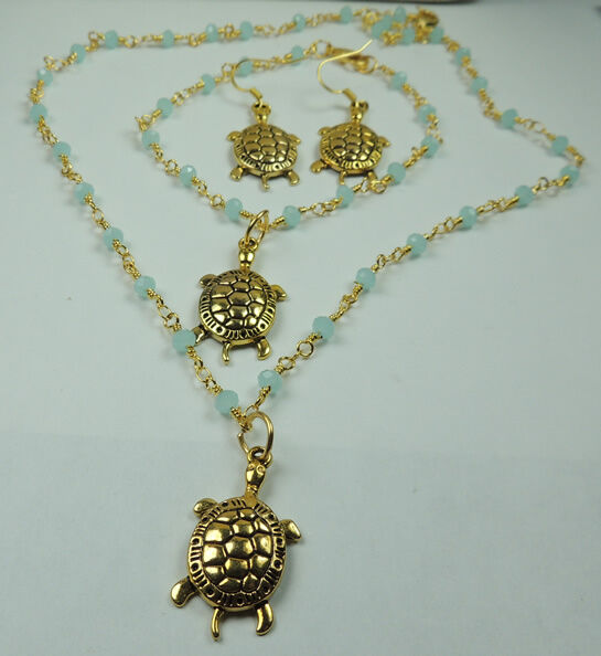 handmade Turtle Necklace Bracelet Turquoise Crystal  Earring set Beach Wedding