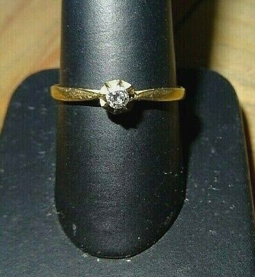Vintage 18ct Yellow Gold Solitaire Diamond Ring Slze O Fully Hallmarked Boxed