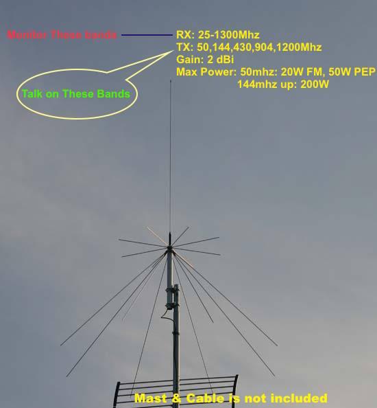 Антенна для радиолюбителя harvest d130 25-1300mhz super disc.