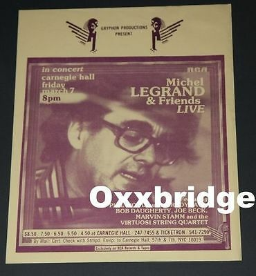 Michel Legrand ORIGINAL POSTER JAZZ Phil Woods RCA Carnegie Hall NYC Trio