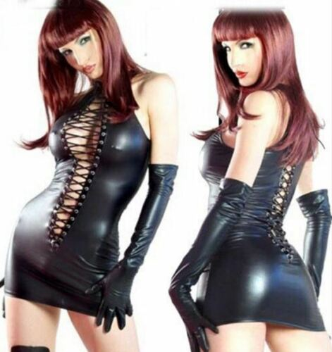 Dress-Womens-Black-Dominatrix-Faux-Leather-Lace-Up-Gloves-Thong-RolePlay-XXL-New