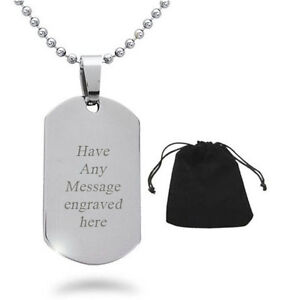 PERSONALISED ENGRAVED LARGE DOG TAG NECKLACE WEDDING BEST MAN BIRTHDAY GIFT