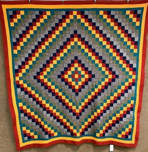 Eye Candy! c 1890-1900 PA Trip Around The World QUILT Top Antique Cheddar Red