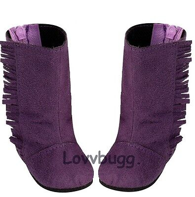 "Lovvbugg Tall Purple Fringe Suede Boots for 18"" American Girl or Bitty Baby Doll Shoes"