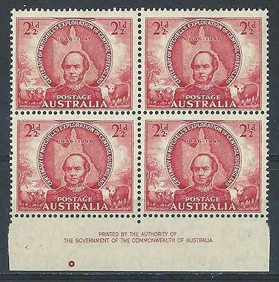 Australia 1946 Sc# 203 Thomas Mitchell red margine block 4 MNH