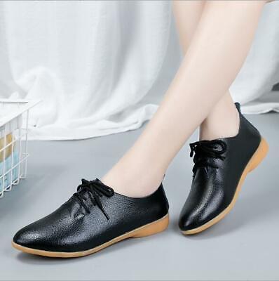 Retro Brogue Women Pump Shoes Round Toe Block Heels Lace Up Leisure British -