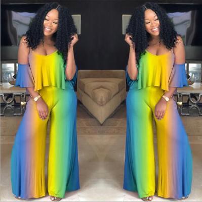 Wide Leg Jumpsuit Rainbow Color Printed Cut Out Shoulder Ruffle Sleeve Bodysuit (Rainbow Cut Out)