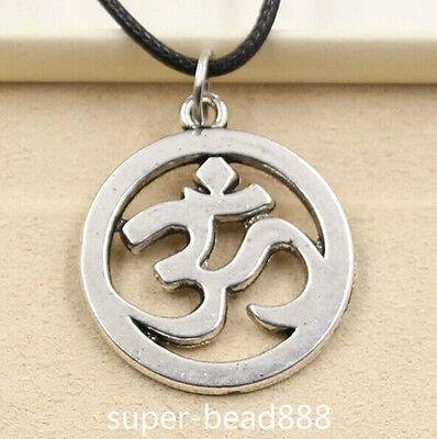 Fashion Tibetan Silver Pendant Yoga Om Necklace Choker Charm Black Leather Cord