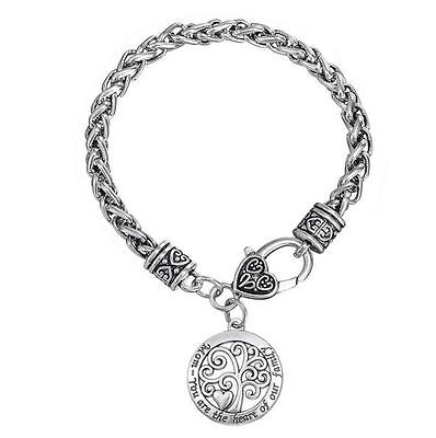 Mothers Day Gift Antique Silver Heart Clasp Mom Charm Bracelet Toggle Jewelry Silver Heart Charm Toggle Bracelet