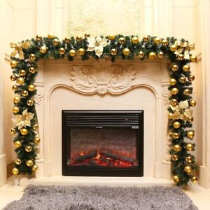 9ft 27m artificial christmas wreath garland door fireplace xmas tree decoration
