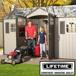 NEW LIFETIME 15' x 8' OUTDOOR SHED - 134184579 - POLYETHYLENE PLASTIC 2 WINDOWS SKYLIGHTS STORAGE UTILITY SHEDS ORGAN...