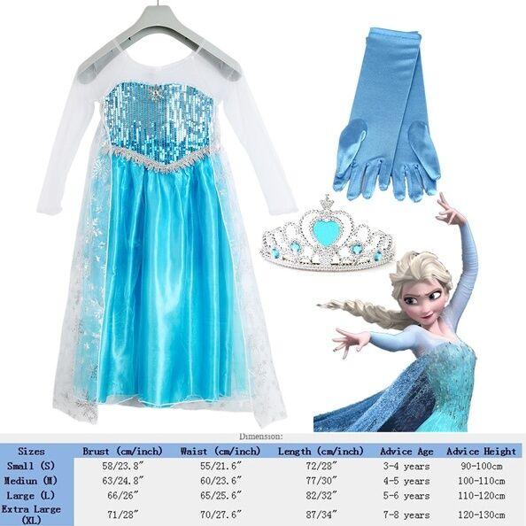 fr stock robe reine des neiges couronne princesse deguisement elsa dress taillel eur 0 99. Black Bedroom Furniture Sets. Home Design Ideas