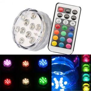 10 LED RGB Submersible Vase Base Tea Light Waterproof Wedding + Remote
