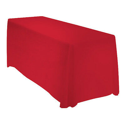 90x132 Rectangle Polyester Tablecloth Wedding Banquet Event - RED