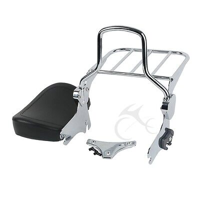 Detachable Backrest Sissy Bar W/ Luggage Rack For Harley HD Touring Models 94-08