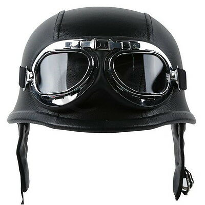 New DOT Motorcycle German Black Leather Half Face Helmet With Pilot Goggles (Leather Half Helmet)