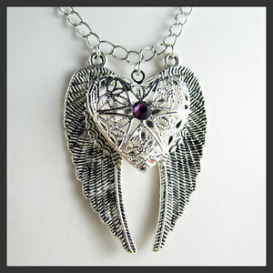Silver-Angel-Wing-Heart-Amethyst-Picture-Locket-Pendant-Long-Necklace