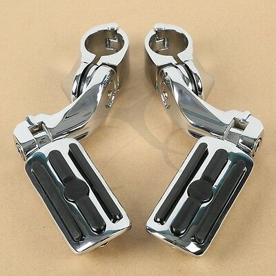 """Chrome 1.25"""" Adjustable Highway Short Mount Foot Pegs Footpeg For Harley Touring"""