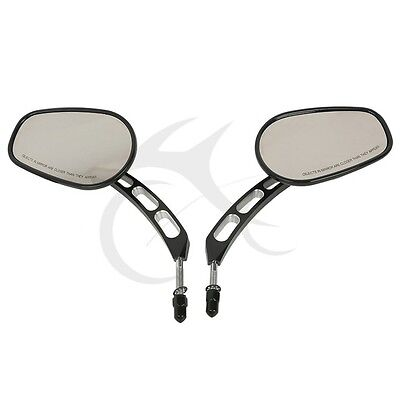 Black Oval Rear Mirrors For Harley Sportster Dyna Bobber Chopper Street Glide US