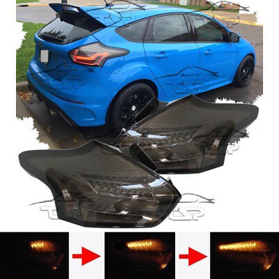 REAR LED TAIL LIGHTS BAR SMOKE DYNAMIC SEQUENTIAL FOR FORD FOCUS MK3 2014