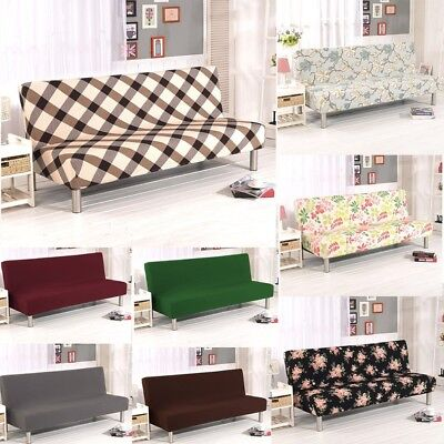 Armless Sofa Bed Chair Cover Stretch Non-Slip Folding Couch Futon Protector US ()
